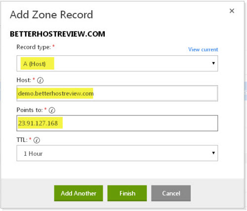 add A record to DNS at godaddy