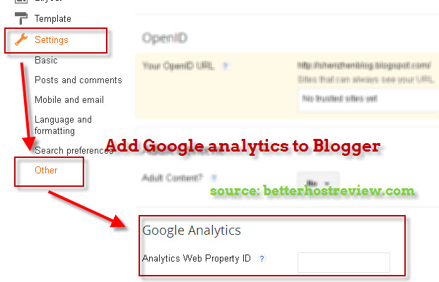Image result for how to set google analytics on blogger