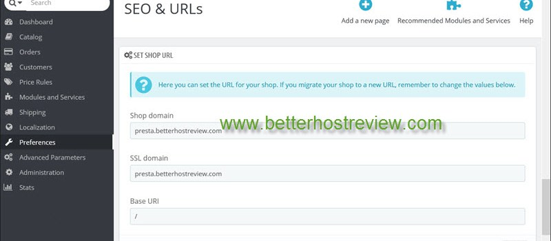 Change PrestaShop domain name