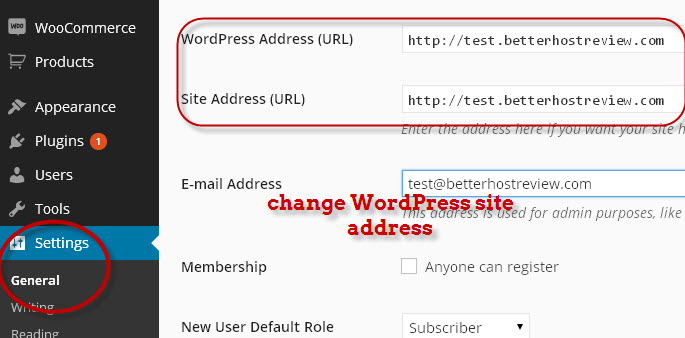 change wordpress site address url in dashboard