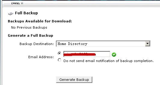 create full backup in cpanel
