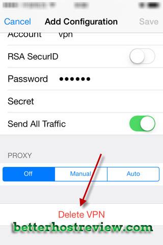 Delete VPN on iPhone – Better Host Review