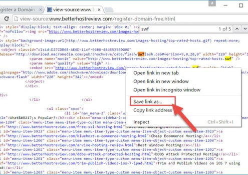 Save Flash SWF via Chrome browser – Better Host Review