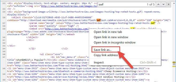 Save Flash SWF via Chrome browser