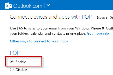 enable pop hotmail option
