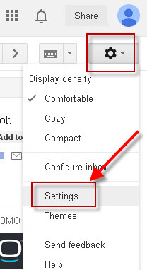 gmail settings menu