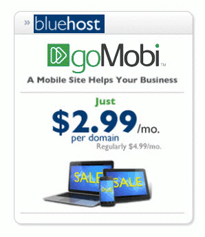 $2.99/month gomobi mobile site builder with with cheap hosting with bluehost