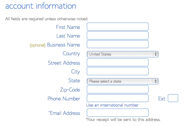 fill in hosting account info with bluehost