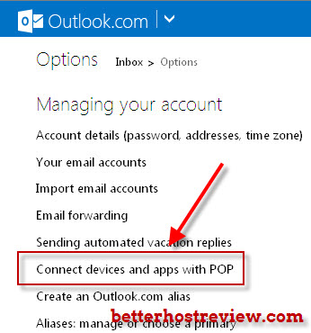 hotmail options settings