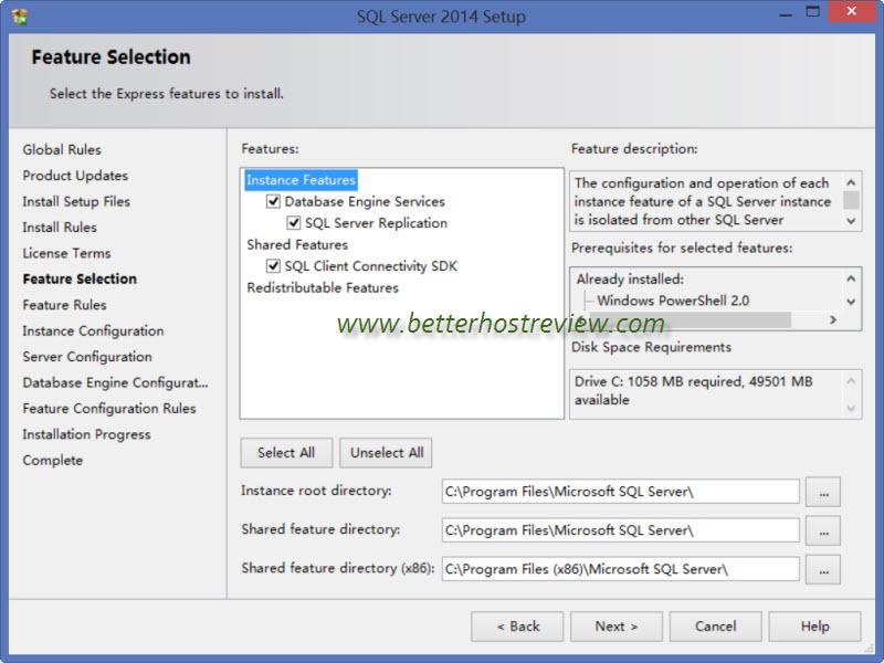 Install local sql server database