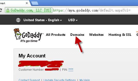 login godaddy domain account