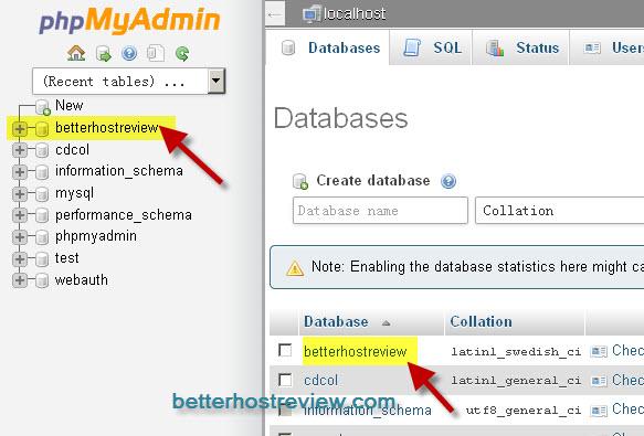 edit mysql database in phpmyadmin