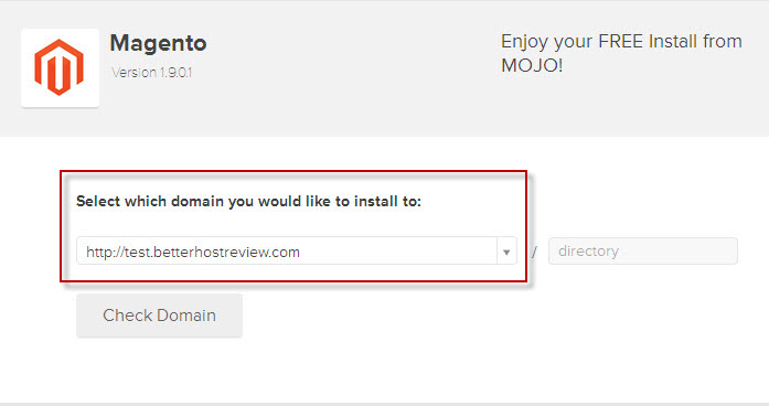 select domain for magento auto installation