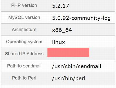 find shared ip address cpanel