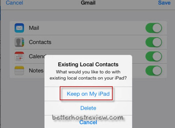 sync gmail contacts to ipad