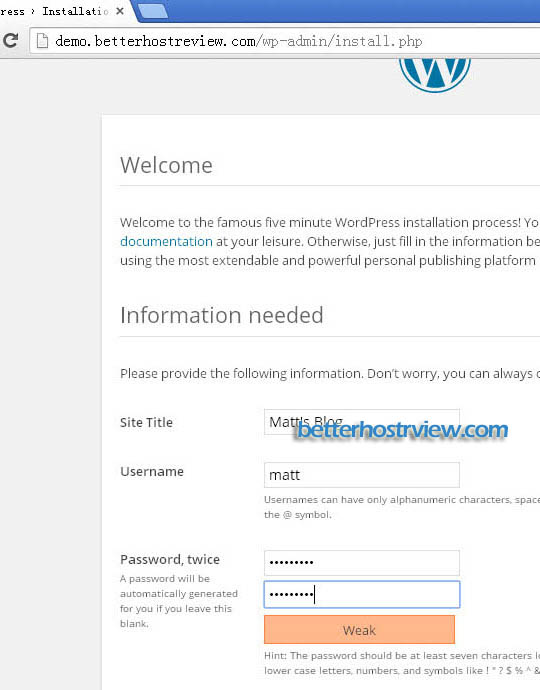 wordpress web installer