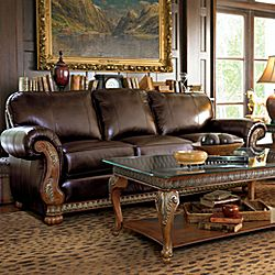 Traditional Leather Sofas Furniture Elegant Brown Sofa