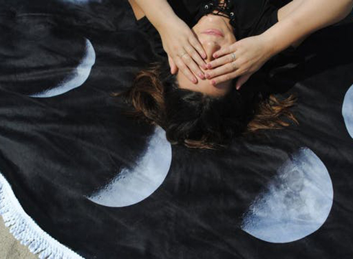 Round Moon Phases Beach Towel