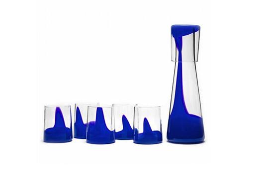 Ash Glass Set And Carafe blue