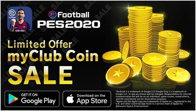 In app purchases for coins at Football PES2020