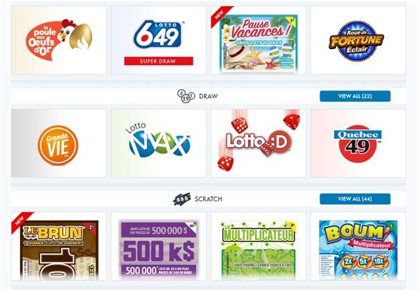 Lotto Quebec mobile app games