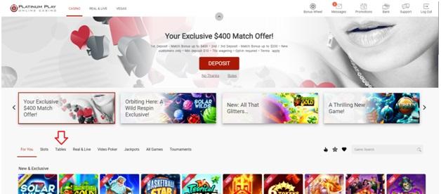 Platinum Play mobile casino Canada- Home Page