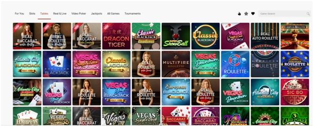 Platinum Play mobile casino Canada- Table Games