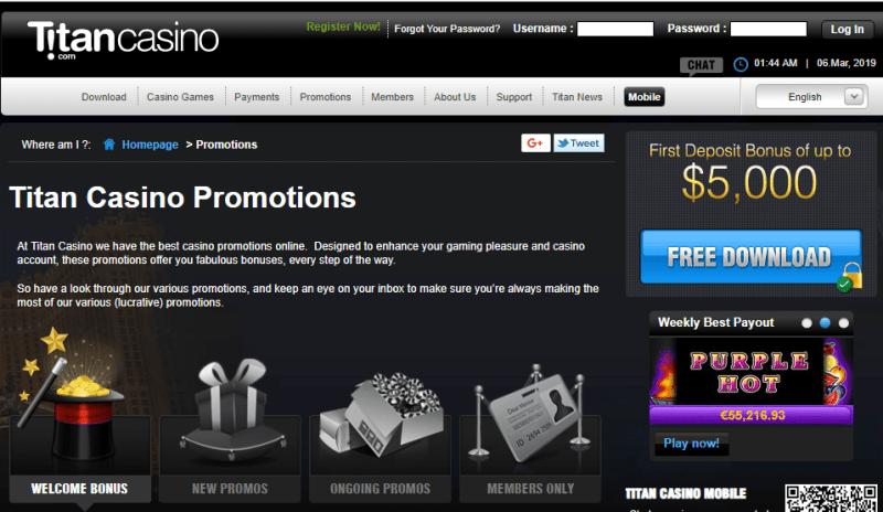 Titan casino bonuses