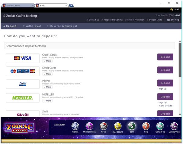 Zodiac Casino Banking in CAD