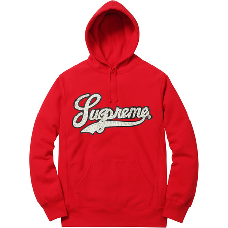 Studded Leather Script Hooded Sweatshirt (Red)