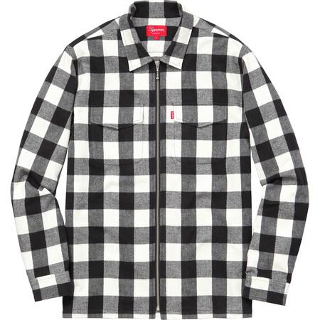 Buffalo Plaid Flannel Zip Shirt (White)