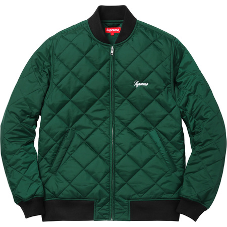 Sequin Patch Quilted Bomber (Pine Green)