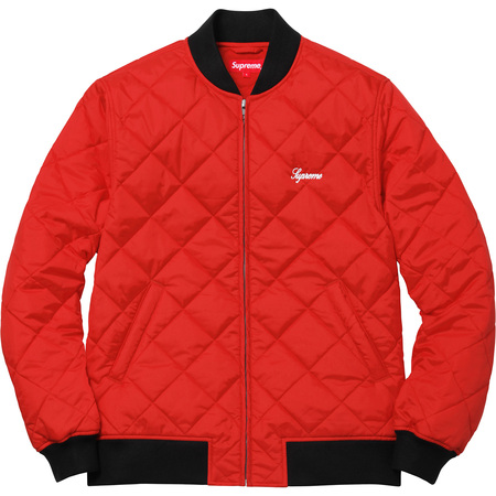 Sequin Patch Quilted Bomber (Red)