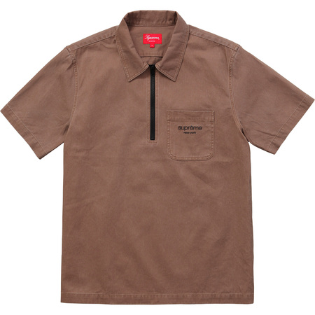 Twill Half Zip Shirt (Brown)