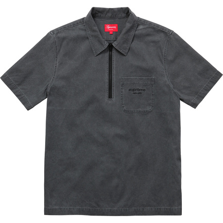 Twill Half Zip Shirt (Black)