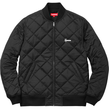 Sequin Patch Quilted Bomber (Black)