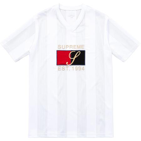 Velvet Logo Mesh Stripe Top (White)