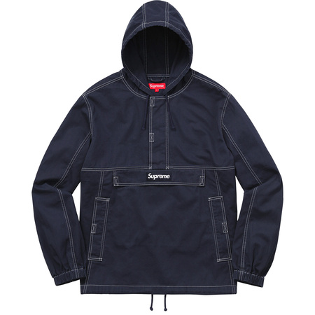 Contrast Stitch Twill Pullover (Navy)
