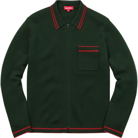 Zip Up Polo Sweater (Dark Green)