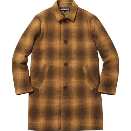 Shadow Plaid Wool Overcoat (Gold)
