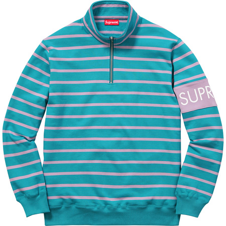 Striped Half Zip Sweat (Teal)