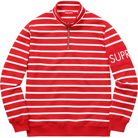 Striped Half Zip Sweat (Red)
