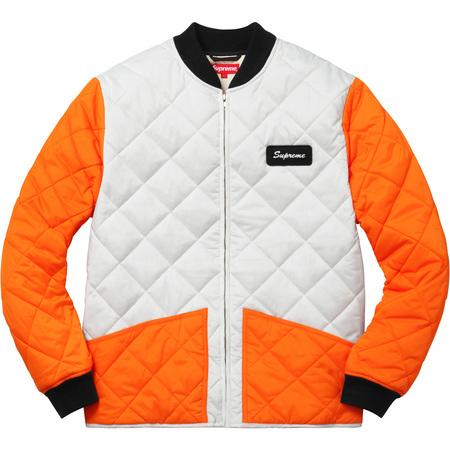 Color Blocked Quilted Jacket (Orange)