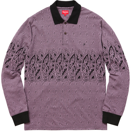 Paisley L/S Polo (Purple)