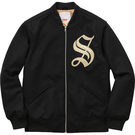 Old English Zip Varsity Jacket (Black)