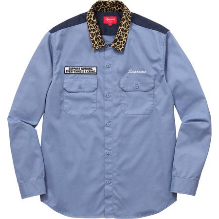 Leopard Collar Work Shirt (Blue)
