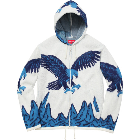Eagle Hooded Zip Up Sweater (White)