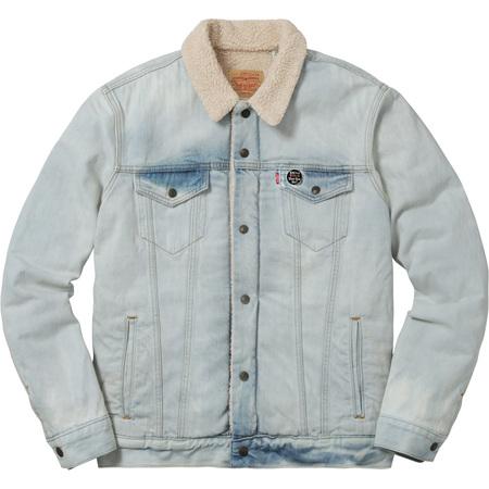 Supreme®/Levi's® Bleached Sherpa Trucker Jacket (Bleached Blue)