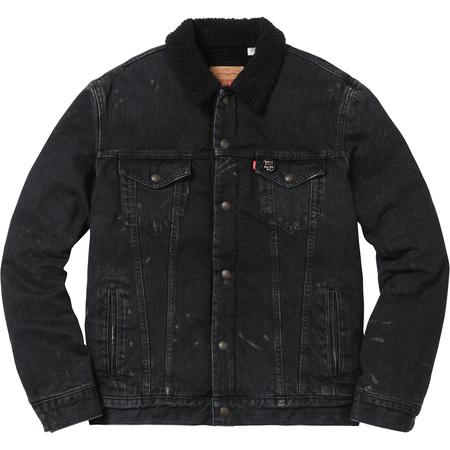 Supreme®/Levi's® Bleached Sherpa Trucker Jacket (Bleached Black)