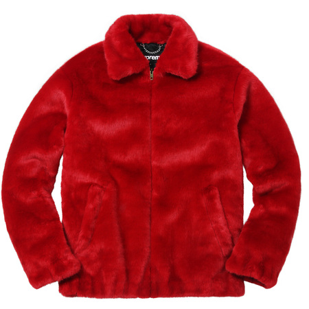 Faux Fur Bomber Jacket (Red)